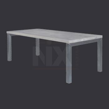 eiken tafel metalen onderstel